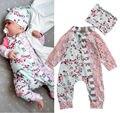 2016 Nueva Moda Bebé Recién Nacido Niñas Ropa Floral Sunsuit Mameluco Del Mono Y Sombrero de los Bebés de Invierno Conjuntos Ropa