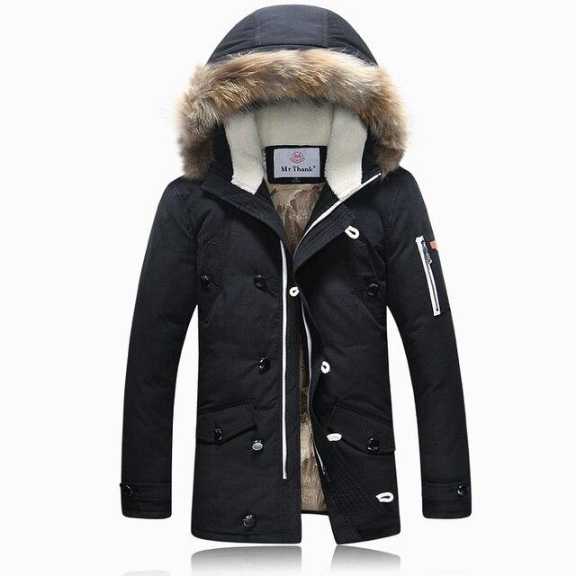 2017 Homens Da Marca de Inverno Para Baixo Capuz de Pele Jaqueta Com Cashmere Mais tamanho XXXL Jaqueta de Inverno Revestimento Dos Homens de Moda de Alta Qualidade Quente 700