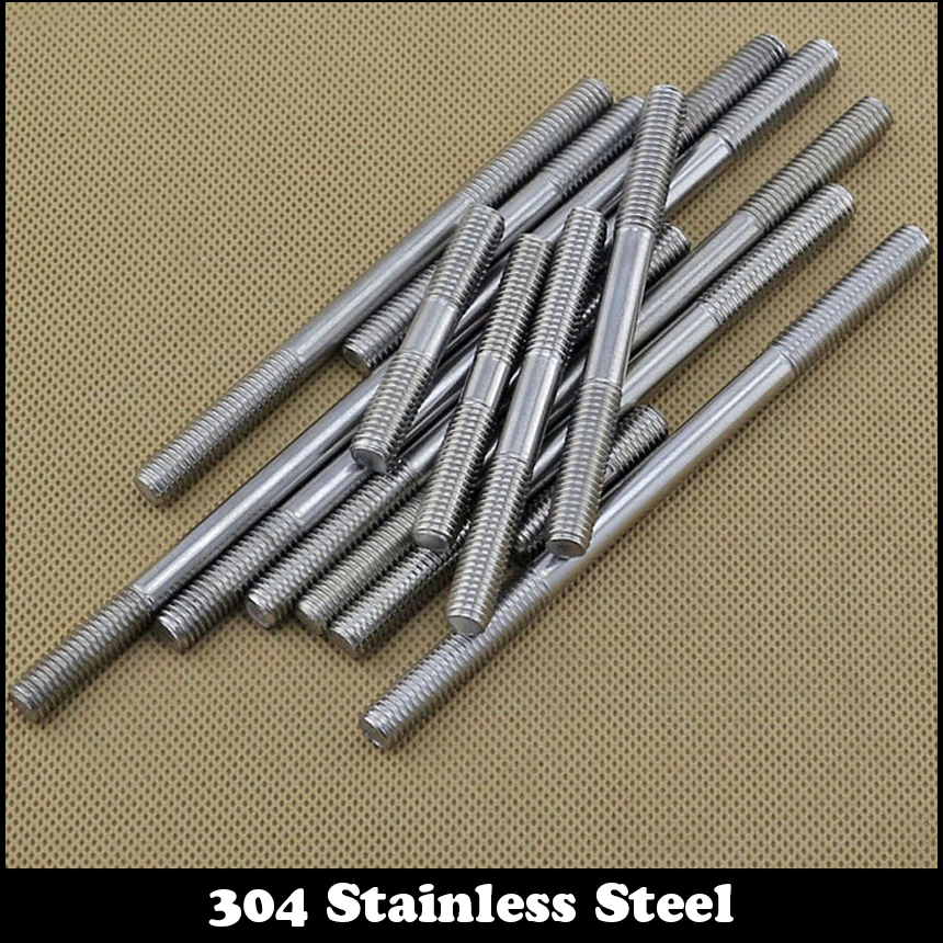цена на M8 M8*140mm M8x140 M8*150 M8x150 304 Stainless Steel 304ss DIN835 Dual Head Screw Headless Double End Thread Rod Bolt Stud