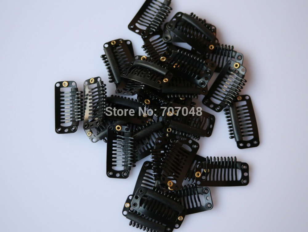 Made in South korea 20pieces/lot Black color 9-teeth Large Hair Clips Wigs Clip hair ext ...