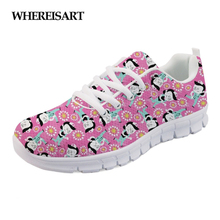WHEREISART Brand Designer Sneakers Shoes Women Pink Flower Flats Power Nurse Pattern Mesh Light Lace Up Walking Shoe Girls Mujer