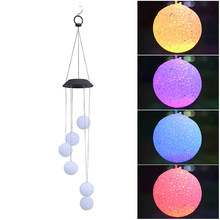 6 Leds Solar Wind Chimes Light Multicolor Ball Hanging Home Decoration Wind Chimes Bell Lamp For Window Party Garden Light(China)