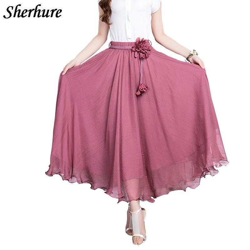 2018 High Waist Women Chiffon Long Skirts Bohemian Beach Skirt With belt Saia Longa Faldas Summer Boho A Line Skirt Plus Size