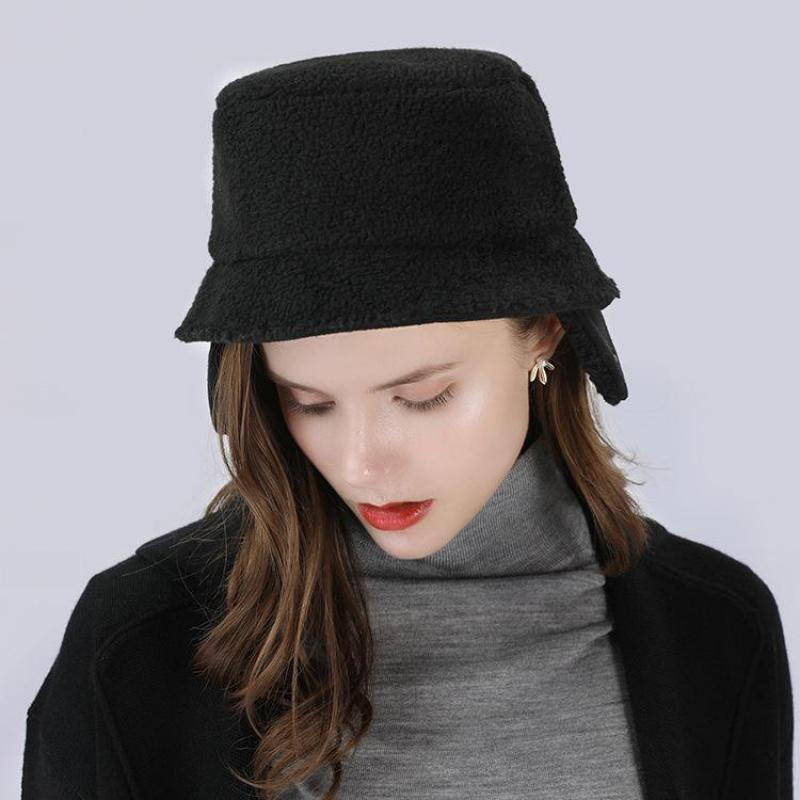 COKK Winter Hats For Women Bomber Hat Lamb Fur Bucket Hat Female Windproof  Ear Protection Thick Warm Russian Hat Gorro Snow Bone-in Bomber Hats from  Apparel ... 63f8fcb5235