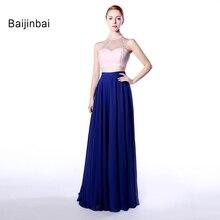 Baijinbai Nueva Llegada Custom Vestido De Festa Dos Piezas Estilo de La Mujer Hermosa Una Línea Cabestro Gasa Sin Mangas Vestido de Fiesta 558