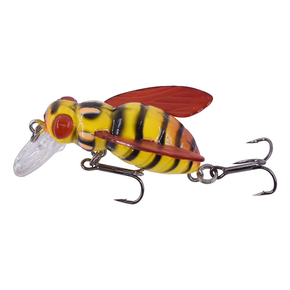 Makebass carnada Artificial Bee Shaped Fishing Bait Insect Bumblebee Fishing Lures Topwater CrankBait Bass Fishing Tackle in Fishing Lures from Sports Entertainment