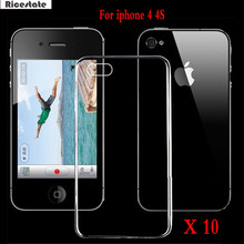 10 Pcs Ricestate Ultra Thin Transparent Clear TPU Case For iPhone 4 4S 4G Crystal Back Protect Silicone Phone Bag For iphone4