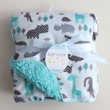 Mantas de bebé Nueva Espesar Doble Capa de lana de Coral Infantil Bebe Sobre Envoltura Búho Impreso Lecho Del Bebé Recién Nacido Manta Swaddle