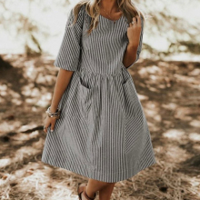 Summer Round Collar Stripe Pocket Loose Casual Dress Black And White Striped Dresses Casual Elegant Pastoral Latest 2019 купить недорого в Москве