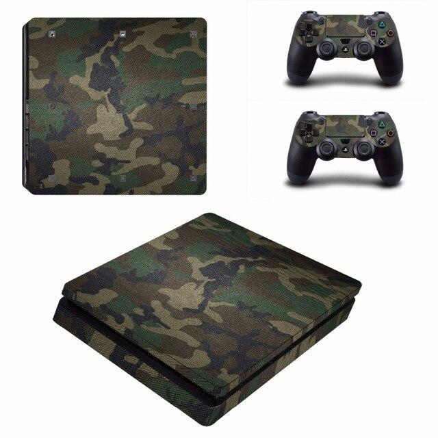 Adesivo camuflado decalque para playstation 4, adesivo camuflado de vinil à prova d água removível para console ps4 slim + 2 controlador de proteção, capa protetora