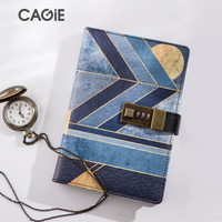 CAGIE Vintage Diary With Lock Travel Journal Leather Notebook Retro Agenda Plaanner Organizer Filofax Personal Lock