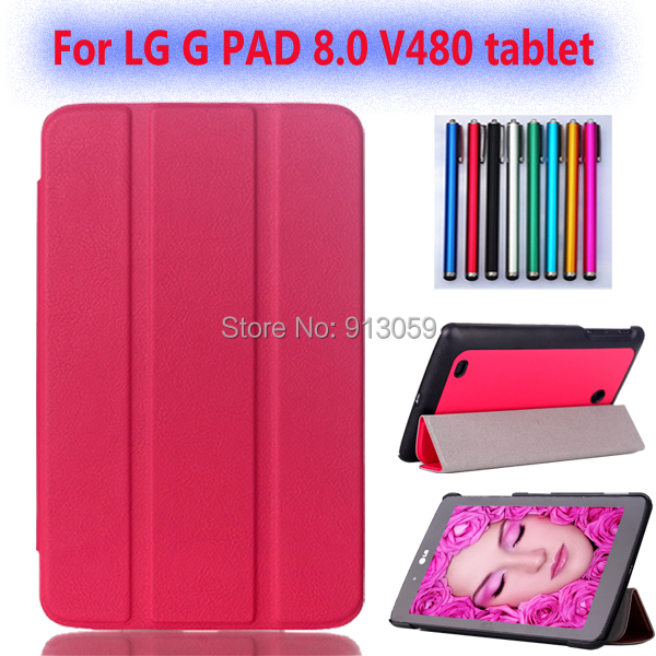 New smart folio stand triangle leather cover  for lg g pad gpad 8.0 v480 v490 8inch tablet case+screen protector+stylus pen ultra thin smart flip pu leather cover for lenovo tab 2 a10 30 70f x30f x30m 10 1 tablet case screen protector stylus pen