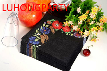 2 packs Food-grade black pattern Napkin Paper 100% Virgin Wood Tissue for Party Decoration Paper placemat цена и фото