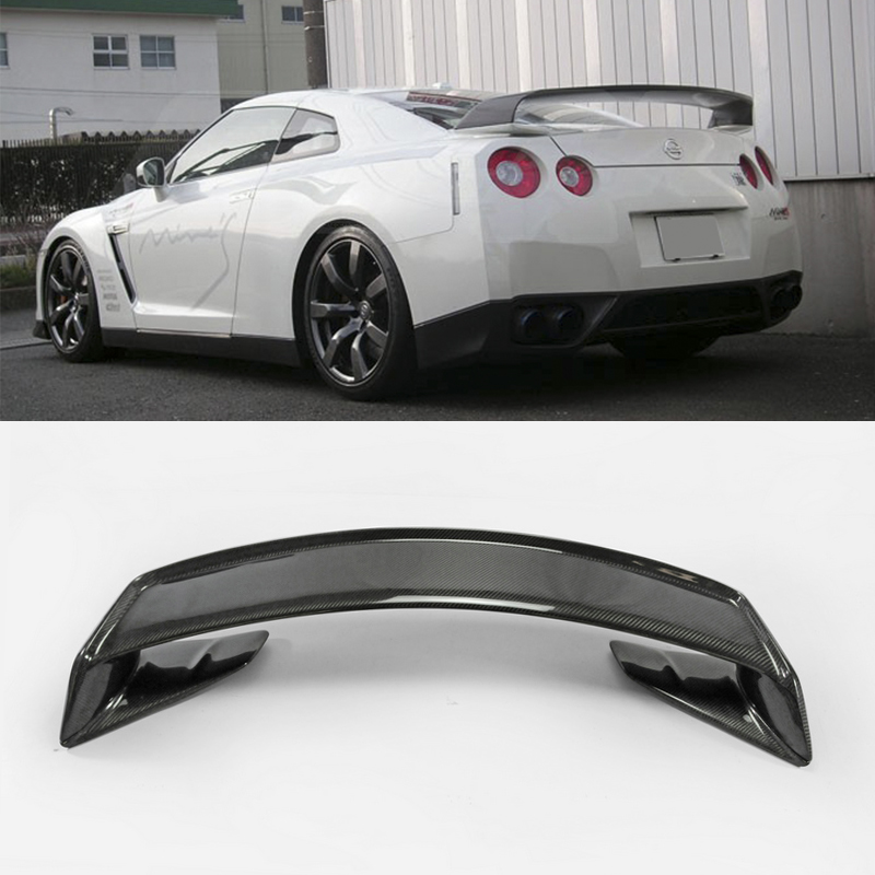 Car Accessories For Nissan <font><b>R35</b></font> <font><b>GTR</b></font> Mine Style Carbon Fiber <font><b>Rear</b></font> <font><b>Spoiler</b></font> With Base Glossy Finish Trunk Wing With Stand Kit Trim image