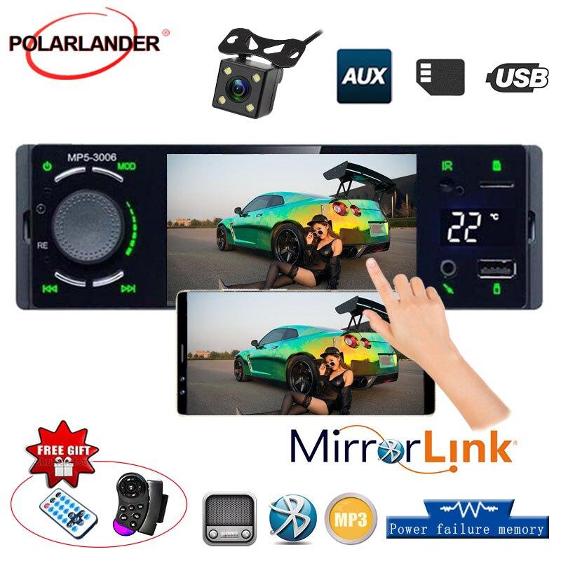 1 Din vue caméra usb aux player 3006 Bluetooth Autoradio ecran tactile 1 Din lien miroir