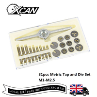 XCAN 31pcs M1 M2.5 Metric Tap and Die Set Mini NC Screw Thread Plugs Taps HSS Steel Hand Screw Tap Die Wrench Set