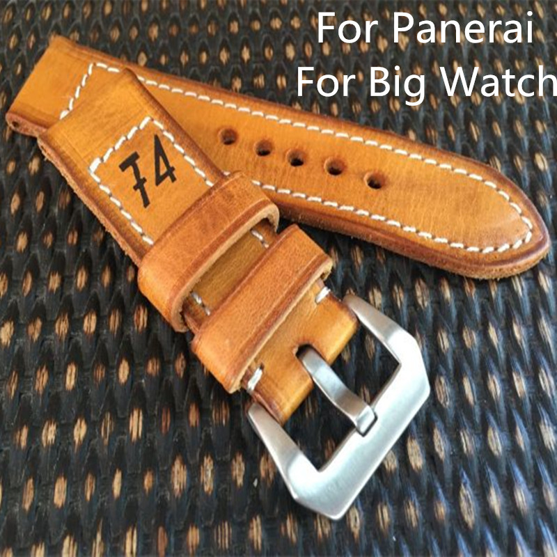 AAA Quality 24MM 26MM Handmade Brown Calfskin Leather Watch Strap Bracelet, Retro Leather Watchbands Belt For Pam And Big Watch hand made oil wax leather watchbands 24mm retro leather strap classic male models for pam italian calfskin strap