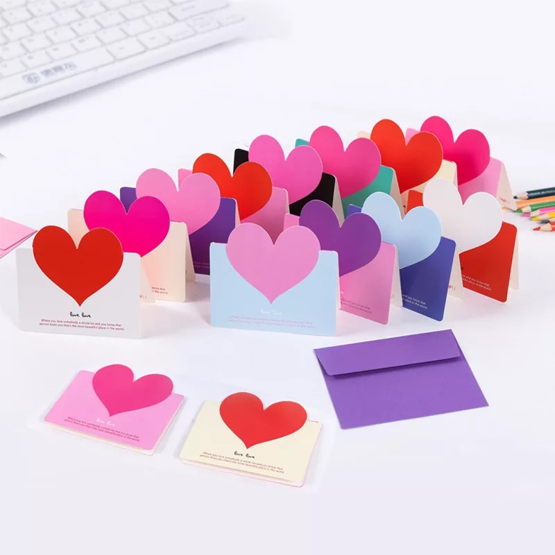 6Pcs Mini DIY Heart Card Simple Creative Greeting Card Wedding Cards Birthday Wishes Christmas Card With Envelope image