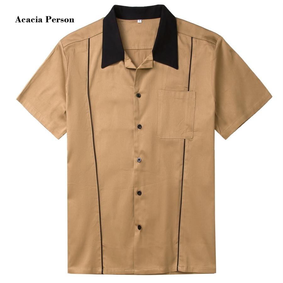 New Designs Hot Sale Men Shirt Short Sleeve Casual Slim Fit Hawaiian Mens Dress Shirts Cotton Rockabilly Vintage 50s Club Shirts