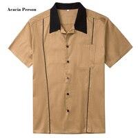 Yeni Tasarımlar Sıcak Satış Erkekler Gömlek Kısa Kollu Rahat Ince Fit Hawaii Erkek Gömlekler Pamuk Rockabilly Vintage 50 s Kulübü gömlek