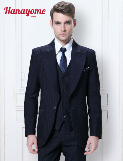 Aliexpress.com : Buy Mens Black Suits Men's Striped V Neck Wedding ...