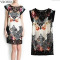 New Summer Fashion Women Floral Print Hollow Lace Spliced Dress Vintage Sexy Lady Round Neck Casual Vestido de festa club wear