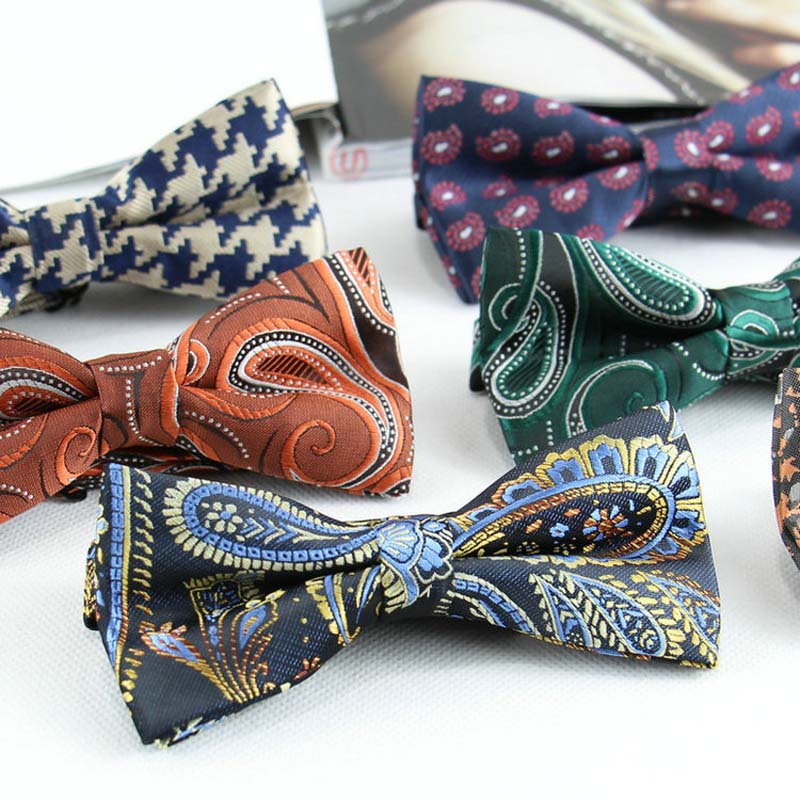 2018 Men's Vintage Adjustable Classic Polyester Silk Bow Tie Paisley Striped Butterfly Cravat Bowtie Wedding Holiday Party Gift
