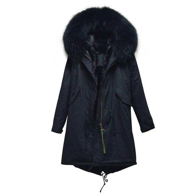 Nouveau mode 2017 noir réel manteau de fourrure longue conception parka, grand col noir grand manteau, femmes parka manteau fabricant pas cher prix