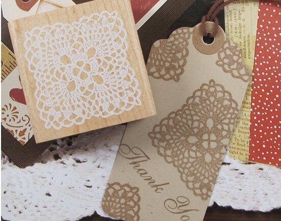 5см Square Lace Retro Vintage Wooden Rubber Stamp Scrapbook DIY - Өнер, қолөнер және тігін - фото 2