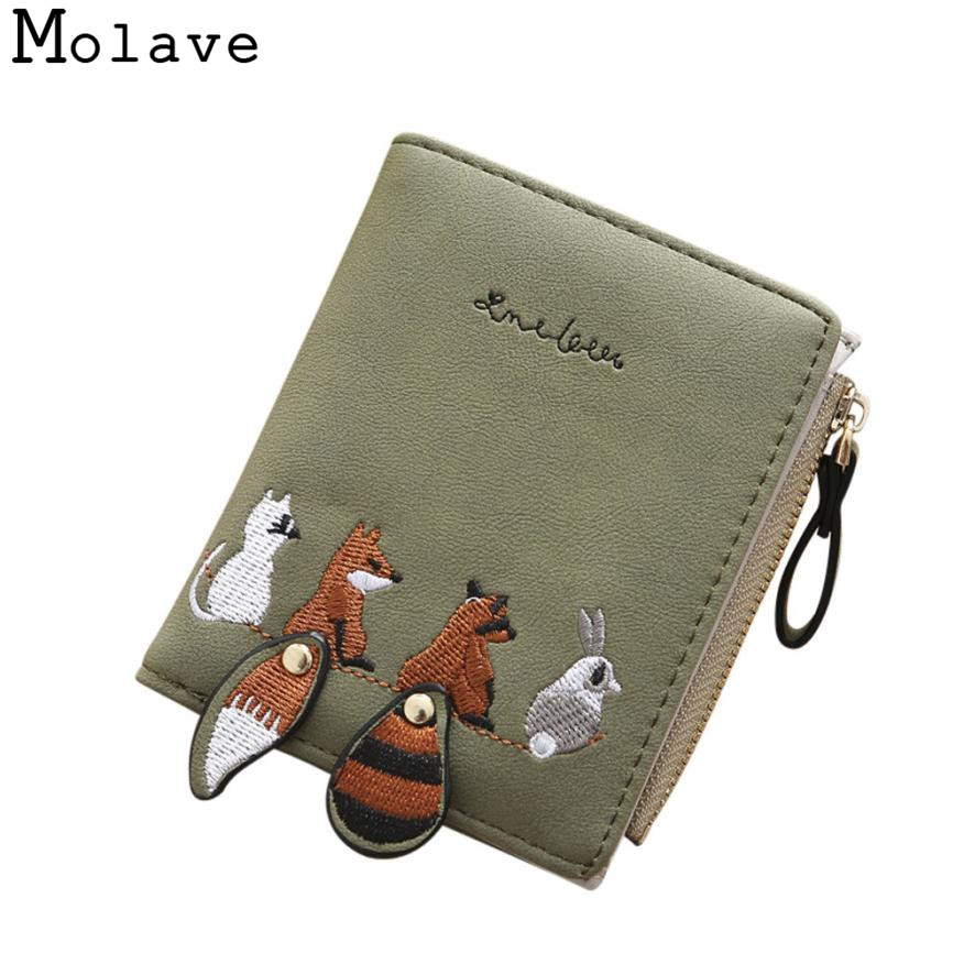 Naivety Short Wallet Embroidery Fox Wallets Female PU Leather Hasp Coin Purse Zipper Clutch 30S71206 drop shipping naivety drop shipping women cute coin purse pu leather cartoon rabbit printing short wallet animal monedero de la moneda 28s7626