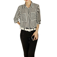Black White Stripped Female Blouses Long Sleeve Button Down Women S Shirt Vertical Striped Chiffon Pocket