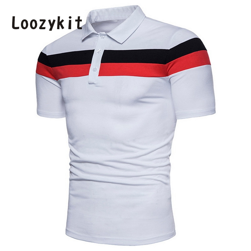 LOOZYKIT 3XL Plus Size Summer   Polo   Shirts Button Male Stand Collar Short Sleeve Shirt Slim Patchwork Business camisetas hombre