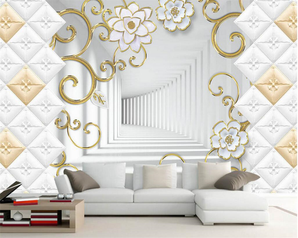 Beibehang Customized Large Wallpaper Soft Pack Golden Pattern Photo ...