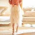 Романтический миди юбки эластичный пояс линия макси юбка Faldas S-5XL великолепная тюль юбки длинные