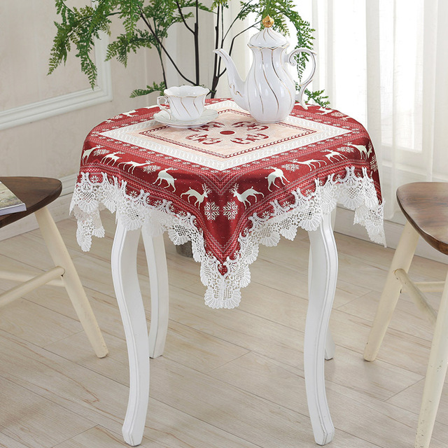 new year holiday christmas tablecloth kitchen dining table decorations for home tv square party table covers - Square Christmas Tablecloth