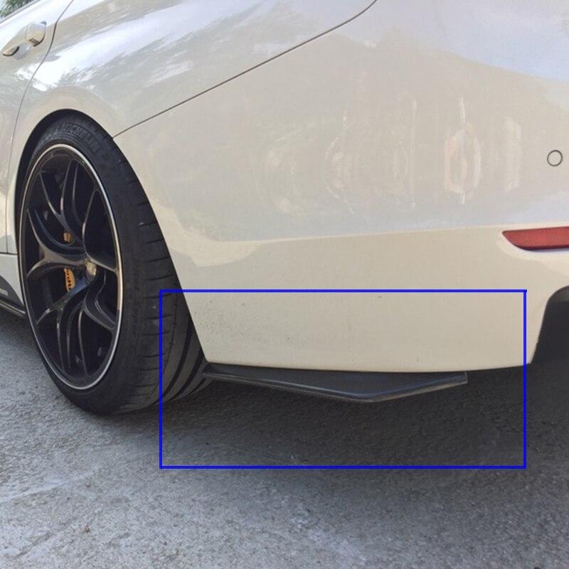 รถด้านหลังสปอยเลอร์กันชน 2 ชิ้น Universal ABS วัสดุ Bright สีดำ collision diffuser มุมแยก Protector อัตโนมัติด้านข้าง