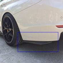 Araba arka tampon spoiler için 2 adet evrensel ABS malzeme parlak siyah çarpışma difüzör açı ayırıcı koruyucu otomatik yan fin