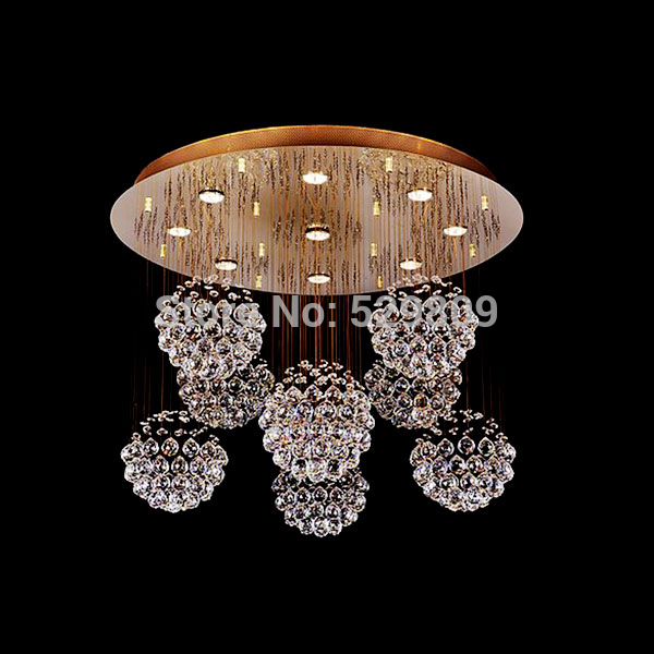 Luxury Gold Crystal Chandelier For Living Room Dia60*H60cm 9PCS Crystals Ball LED Lustres De Cristal Home Decor Crystal Lamps
