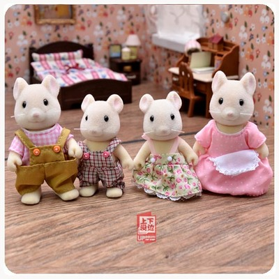 action Figure forest Families children's play small toy animal flocking vole family ornaments model toys with bed and table люстра fire small ornaments
