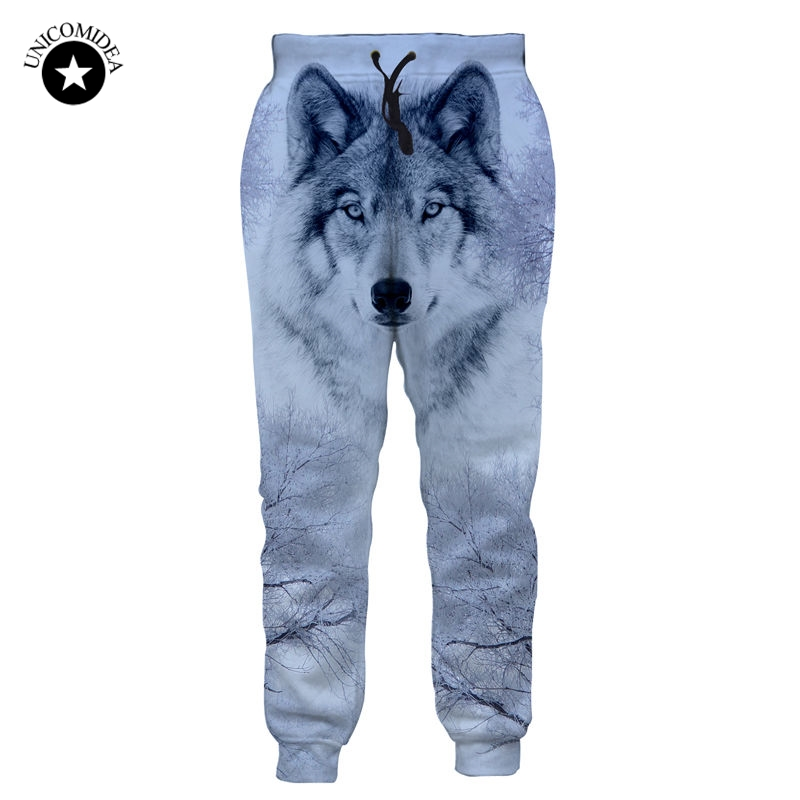 Autumn Men Casual Sweat Pants Snow Wolf 3D Pirnted ...