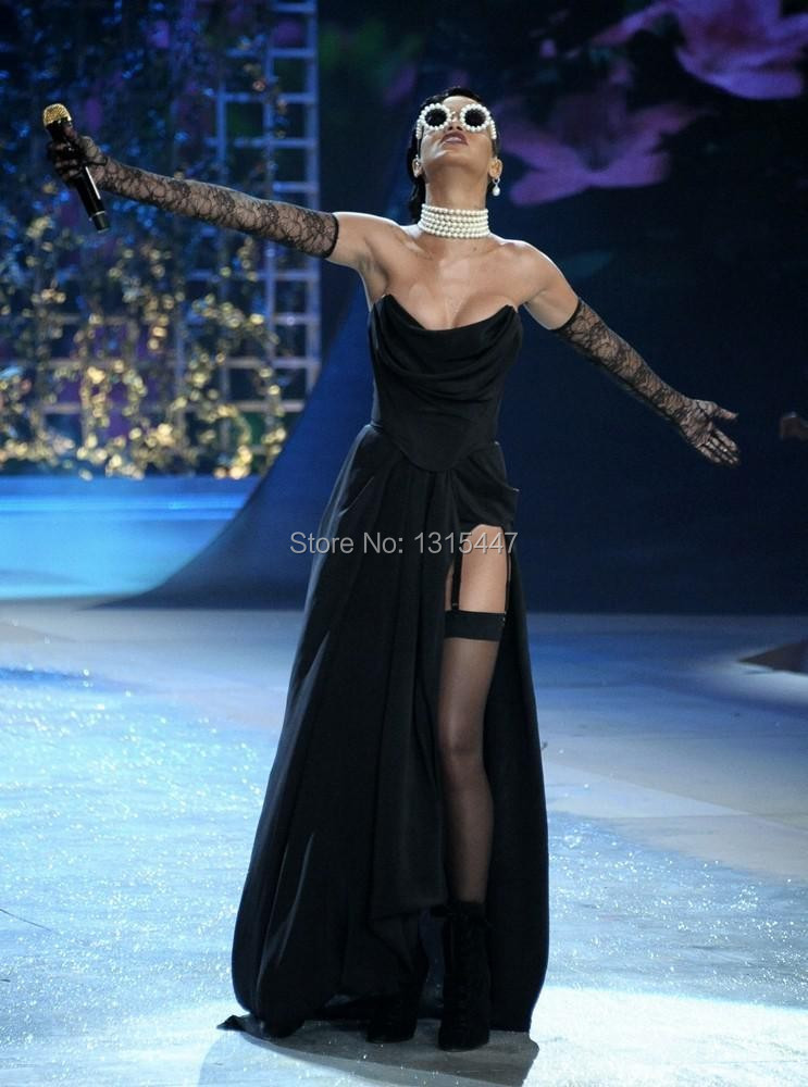Rihanna Black Strapless Prom Gown Victorias Secret Fashion Show 2012 Celebrity Dresses1.5