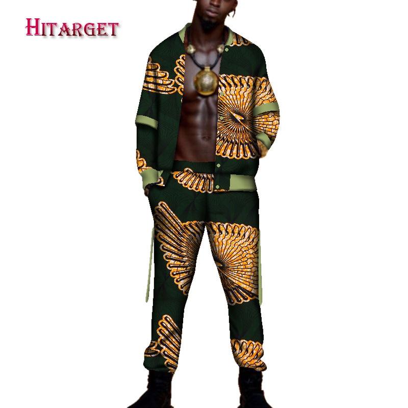 2018tracksuit men Autumn Mens African Clothing dashiki african print suit 2 pieces Mensclothe Cotton Plus Size WYN95