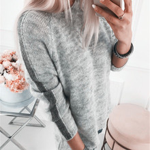 Women's sweater vintage casual simple Tops round neck pullover Long sleeve sweater plus size sweater women