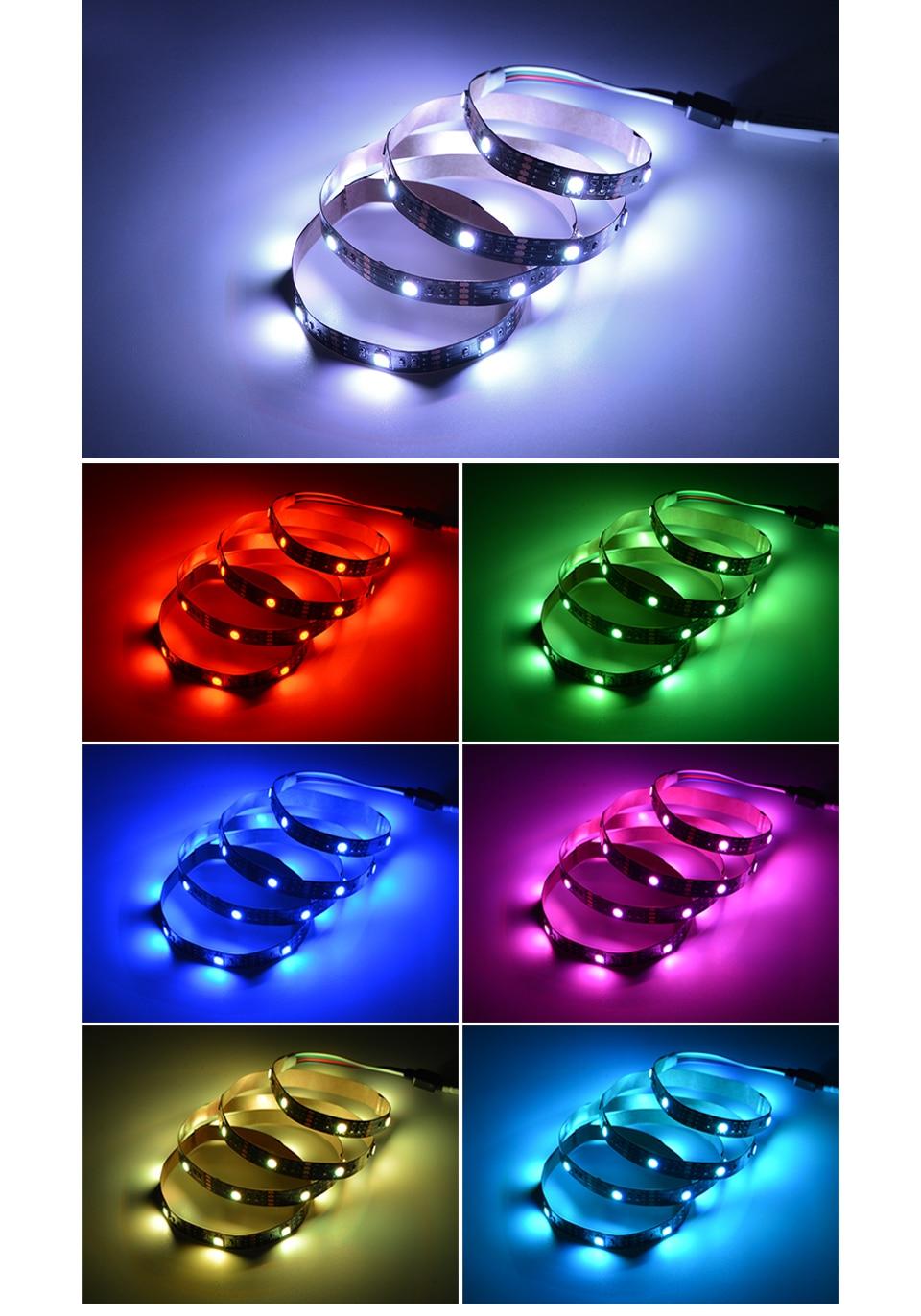 HTB1gSVAaMb.PuJjSZFpq6zuFpXaD TV Backlight RGB LED Strip 5050 Waterproof 5V USB LED Tape String Bias lighting For HDTV Screen Desktop PC LCD Monitor Decor
