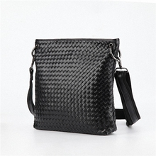 new arrive men weave messenger bags pu leather shoulder bag men's travel bags high quality male business bags LI-1036
