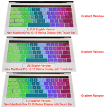 Silicone EU/US English Spanish Gradient Keyboard Cover Stickers Protector for MacBook Pro 13″ A1708 For MacBook 12 A1534 Retina