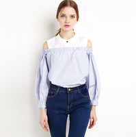 Vagary Women Cold Shoulder Buttons Tops Summer Style Cute Shirt New Arrival Ladies Sexy Light Blue