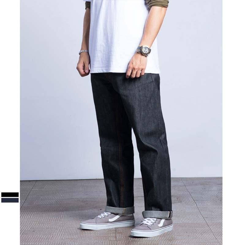 New Fashion Men Casual   Jeans   Straight Loose Baggy Raw Denim   Jeans   Hip Hop Harem Pants Vintage Skateboard Trousers Black Blue