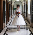 1950s Vintage short Wedding Dresses 3/4 Sleeve Jewel Neck Lace Tulle Tea Length Bridal Gowns vestidos de noiva Custom W1101