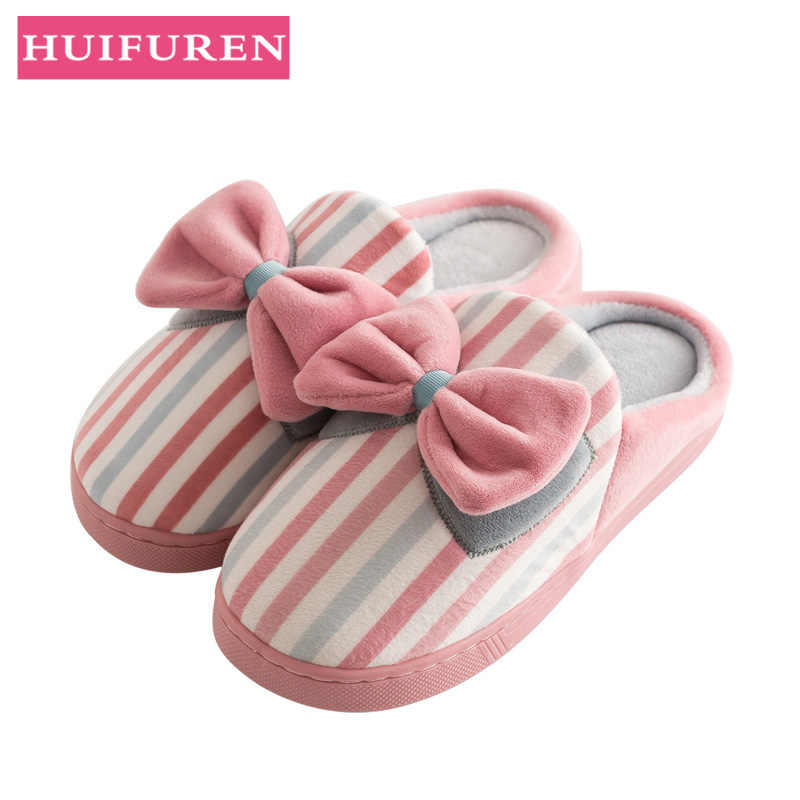 Unisex Indoor Slippers 2019 Spring Autumn Floor Flat Shoes Woman Home Slides Short Plush Female Bedroom Winter Warm Slippers
